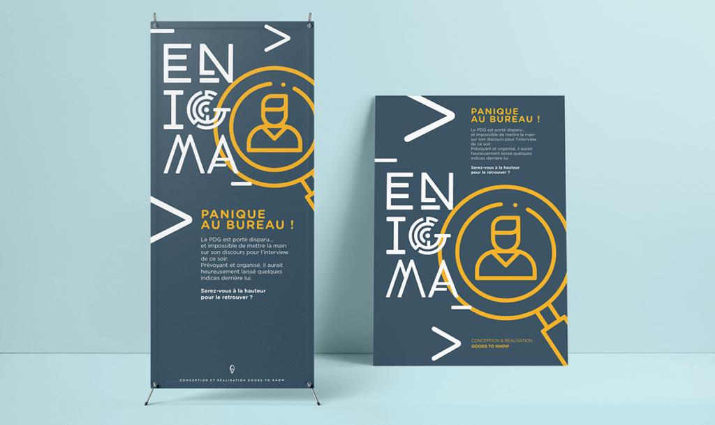 Affiche et kakemono présentant l'escape game Enigma