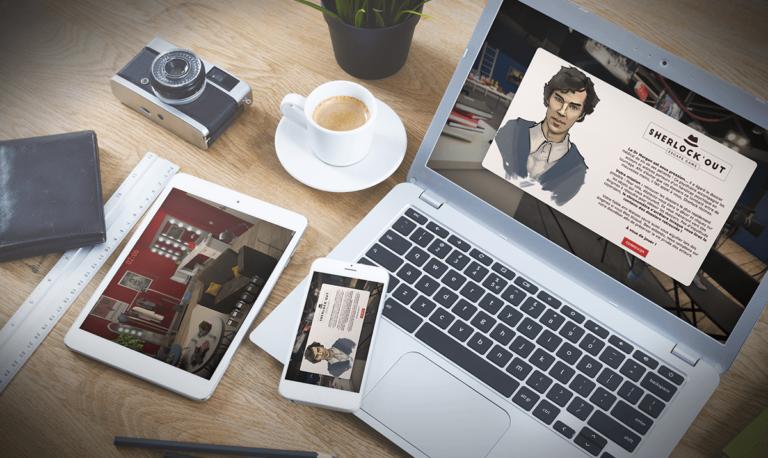 Aperçu responsive de l'Escape game digital Sherlock'Out