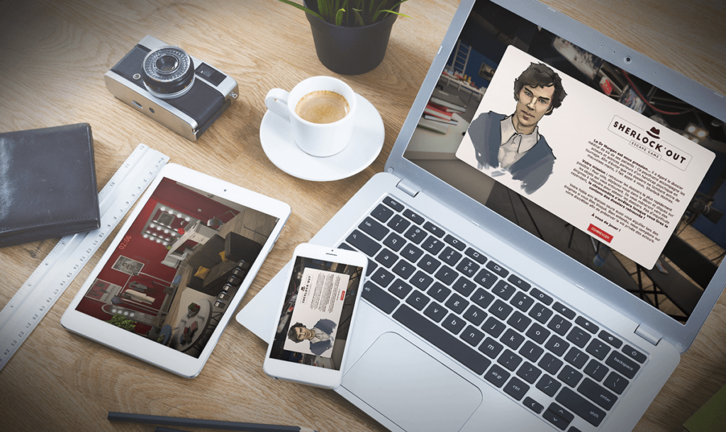 Aperçu responsive de l'Escape game digital Sherlock'Out